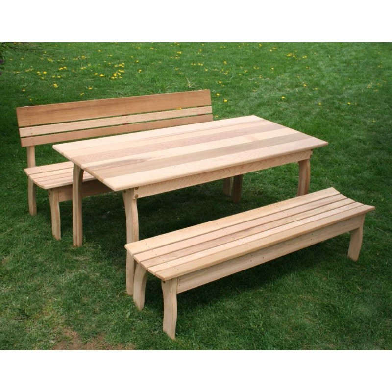 "Outdoor Furniture: Wood: Cedar Couple Dining Set Natural 70""L × 32""W"