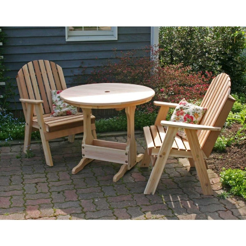 Outdoor Furniture: Wood: Cedar Fanback Bistro Set Natural