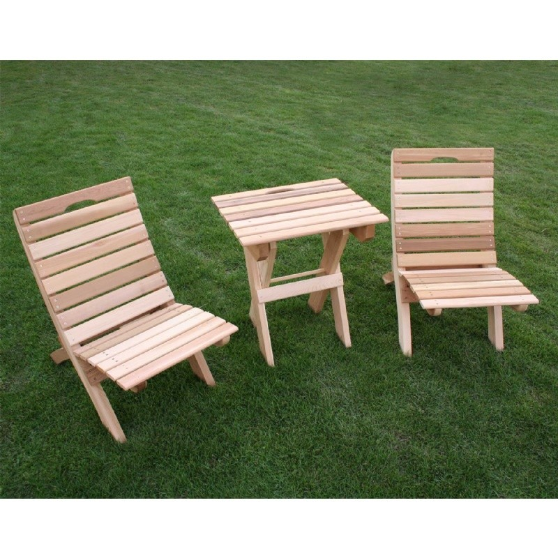 Outdoor Furniture: Wood: Cedar Folding Travel Collection Natural