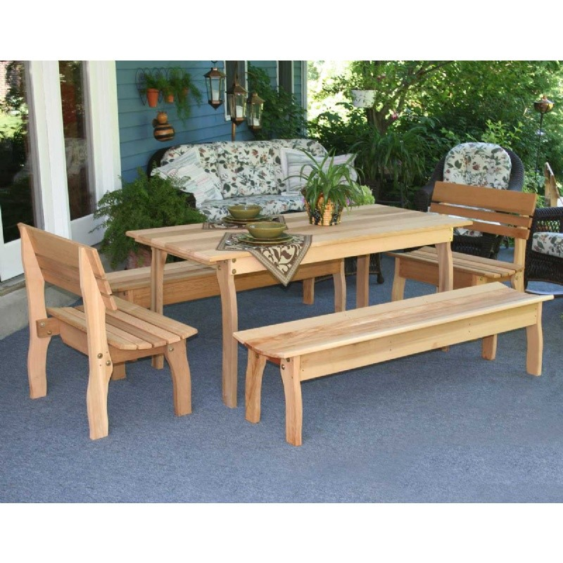 "Outdoor Furniture: Wood: Cedar Gathering Dining Set Natural 70""L × 32""W"
