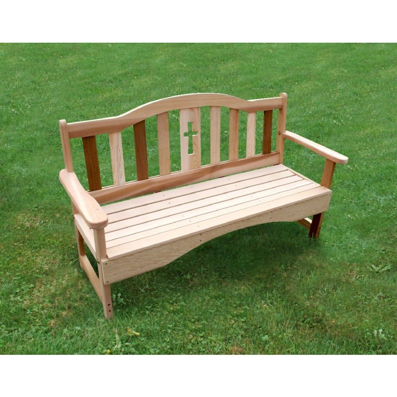 Outdoor Furniture: Wood: Cedar Holy Cross Garden Bench Natural 4'