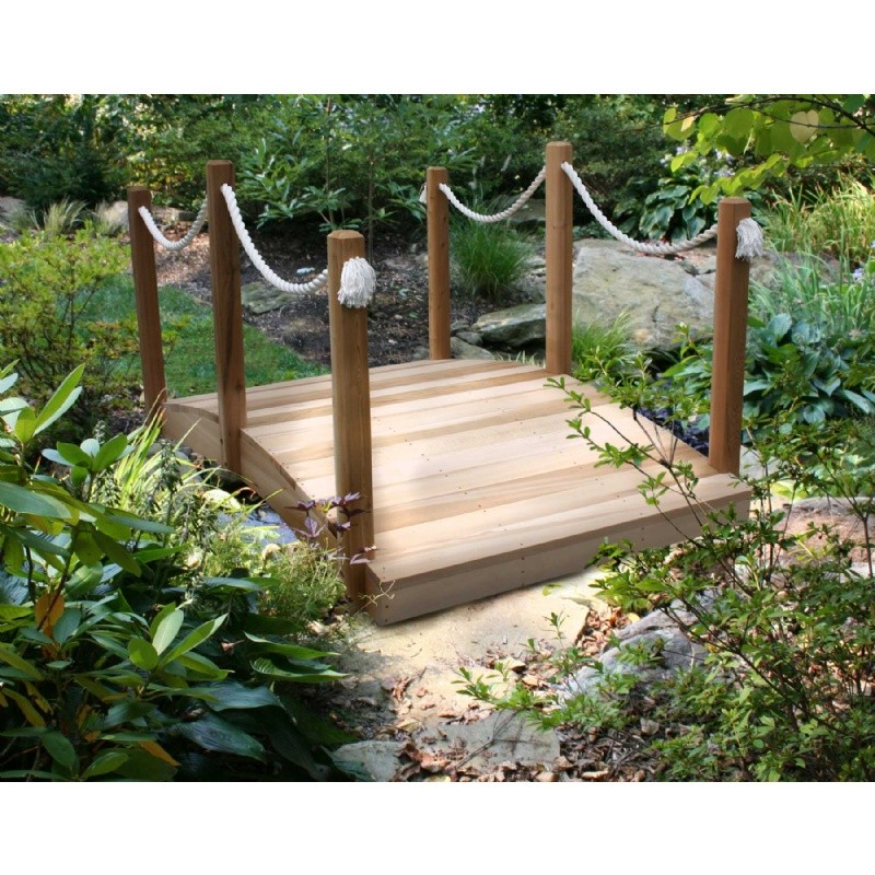 Newly added home & garden products: Garden Bridges: Cedar Rope Bridge Natural 6'