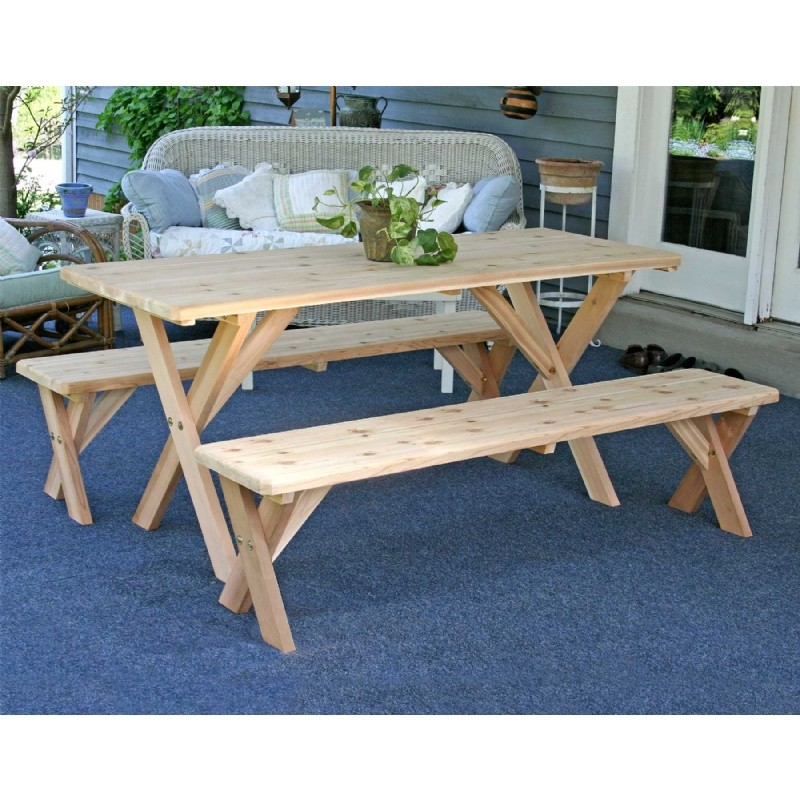 "Red Cedar 27"" Wide 8` Backyard Bash Cross Legged Picnic Table w/ Detached Benches Natural"