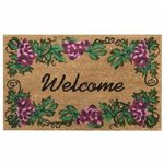 "SuperScraper Vinyl Coir Doormat with Grape Welcome 18"" x 30"" NH-33013"