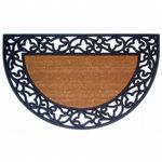 "Wrought Iron Rubber Coir Mat with Acanthus Border 22"" x 36"" Half Round NH-18022"