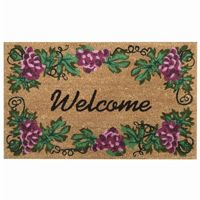 "SuperScraper Vinyl Coir Doormat with Grape Welcome 18"" × 30"" NH-33013"