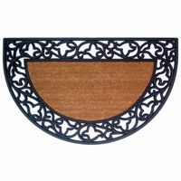 "Wrought Iron Rubber Coir Mat with Acanthus Border 22"" × 36"" Half Round NH-18022"