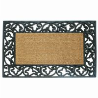 "Wrought Iron Rubber Coir Mat with Acanthus Border 22"" × 36"" NH-18013"