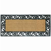 "Wrought Iron Rubber Coir Mat with Acanthus Border 24"" × 57"" NH-18019"