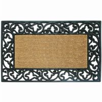 "Wrought Iron Rubber Coir Mat with Acanthus Border 30"" × 48"" NH-18016"