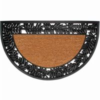 "Wrought Iron Rubber Coir Mat with Olive Border 22"" × 36"" Half Round NH-5524244"
