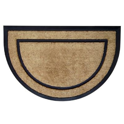 "Coir Doormat with Black Rubber Frame 24"" x 36"" Half Round NH-18100"
