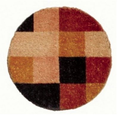"Designer Coco Mat 24"" Round with Orange Pixel Print NH-O2211"