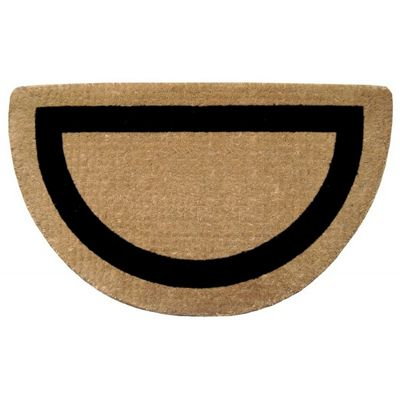 "Heavy Duty Coir Mat with Black Single Picture Frame 22"" x 36"" Half Round NH-O2052"