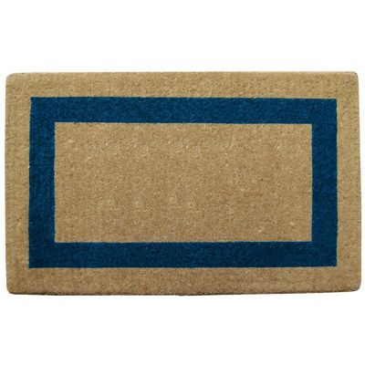 "Heavy Duty Coir Mat with Blue Single Picture Frame 22"" x 36"" NH-O2028"