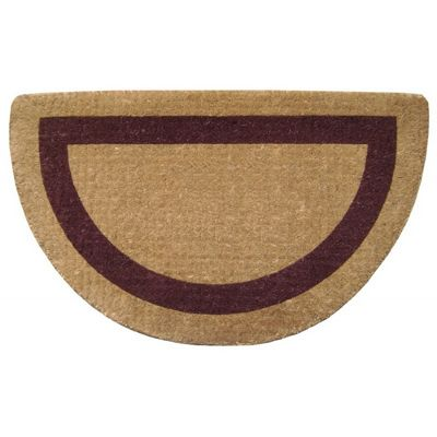 "Heavy Duty Coir Mat with Brown Single Picture Frame 22"" x 36"" Half Round NH-O2054"