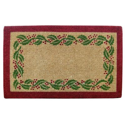 "Heavy Duty Coir Mat with Holly Ivy Border 22"" x 36"" NH-O2244"