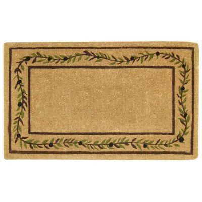 "Heavy Duty Coir Mat with Olive Branch Border 22"" × 36"" NH-O2227"