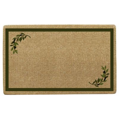 "Heavy Duty Coir Mat with Olive Corner Border 30"" x 48"" NH-O2113"