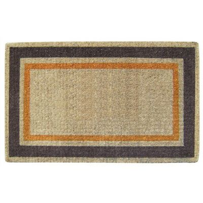 "Heavy Duty Coir Mat with Orange & Brown Picture Frame 22"" x 36"" NH-O2016"