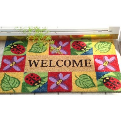 "SuperScraper Vinyl Coir Doormat with Ladybug Welcome 18"" x 30"" NH-33012"