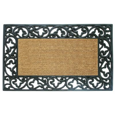 "Wrought Iron Rubber Coir Mat with Acanthus Border 22"" x 36"" NH-18013"