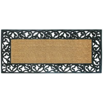 "Wrought Iron Rubber Coir Mat with Acanthus Border 24"" x 57"" NH-18019"
