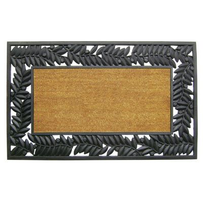 "Wrought Iron Rubber Coir Mat with Olive Border 30"" x 48"" NH-5524202"