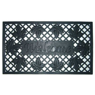 "Wrought Iron Rubber Mat Lattice & Leaves 18"" x 30"" NH-20004"