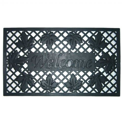 "Wrought Iron Rubber Mat Lattice & Leaves 18"" × 30"" NH-20004"