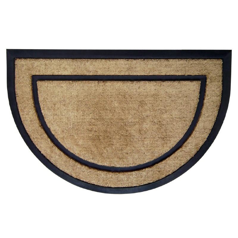 Coir Doormat With Black Rubber Frame 24 Quot 215 36 Quot Half Round