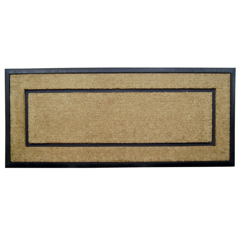 "Coir Doormat with Black Rubber Frame 24"" × 57"""
