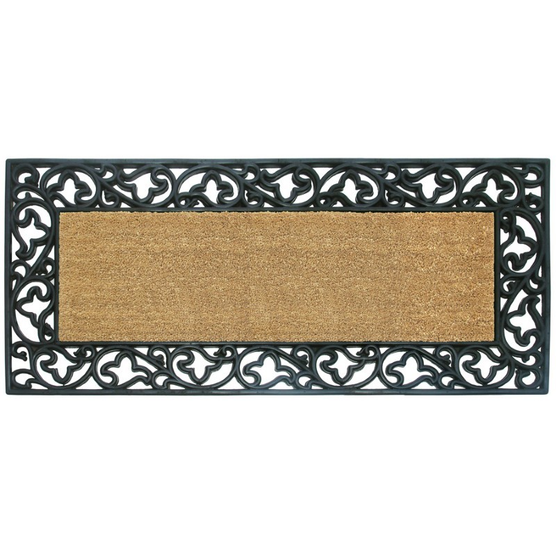 "Wrought Iron Rubber Coir Mat with Acanthus Border 24"" × 57"""