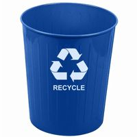 Witt Indoor Recycling Waste Basket Blue Steel W-4BL-R
