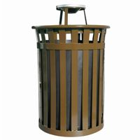 Witt Outdoor 50 Gal. Trash Receptacle Brown Steel with Ash Top W-M5001-AT-BN