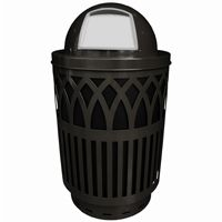 Witt Outdoor Covington Can 40 Gal. Black Steel with Dome Top W-COV40P-DT-BK