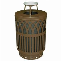 Witt Outdoor Covington Can 40 Gal. Brown Steel with Ash Top W-COV40P-AT-BN