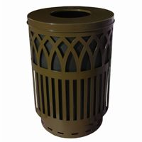 Witt Outdoor Covington Can 40 Gal. Brown Steel with Flat Top W-COV40P-FT-BN
