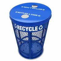 Witt Outdoor Expanded Metal Recycling 48 Gal. Blue Steel W-EXP-52NPBL-FTR