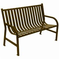 Witt Outdoor Full Bench Brown Steel 4 Foot W-M4-BCH-BN