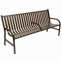 Witt Outdoor Full Bench Brown Steel 6 Foot with Center W-M6-BCH-ARM-BN