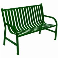 Witt Outdoor Full Bench Green Steel 4 Foot W-M4-BCH-GN