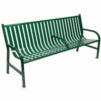 Witt Outdoor Full Bench Green Steel 6 Foot with Center W-M6-BCH-ARM-GN