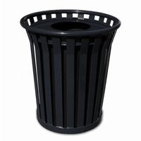 Witt Outdoor Trash Receptacle 24 Gal. Black Steel with Flat Top - Wydman W-WC2400-FT-BK