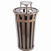 Witt Outdoor Trash Receptacle 24 Gal. Brown Steel with Ash Top W-M2401-AT-BN