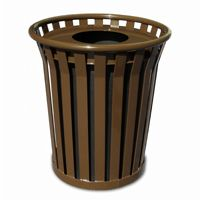 Witt Outdoor Trash Receptacle 24 Gal. Brown Steel with Flat Top - Wydman W-WC2400-FT-BN