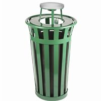 Witt Outdoor Trash Receptacle 24 Gal. Green Steel with Ash Top W-M2401-AT-GN