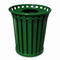 Witt Outdoor Trash Receptacle 24 Gal. Green Steel with Flat Top - Wydman W-WC2400-FT-GN