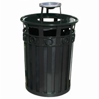 Witt Outdoor Trash Receptacle 36 Gal. Black Steel with Ash Top - Decorative W-M3600-R-AT-BK
