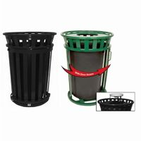 Witt Outdoor Trash Receptacle 36 Gal. Black Steel with Ash Top and Sliding Gate W-M3601SD-AT-BK